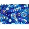 Ponybead 2/0 Blue Aqua Silver Lined Mix